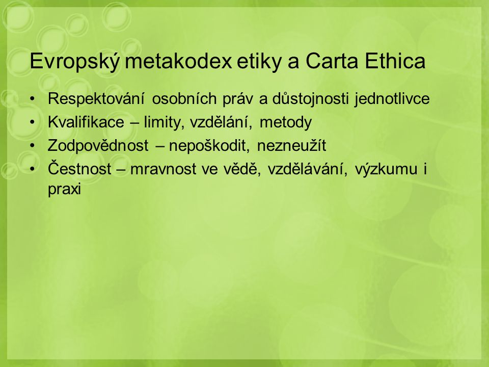Evropský metakodex etiky a Carta Ethica