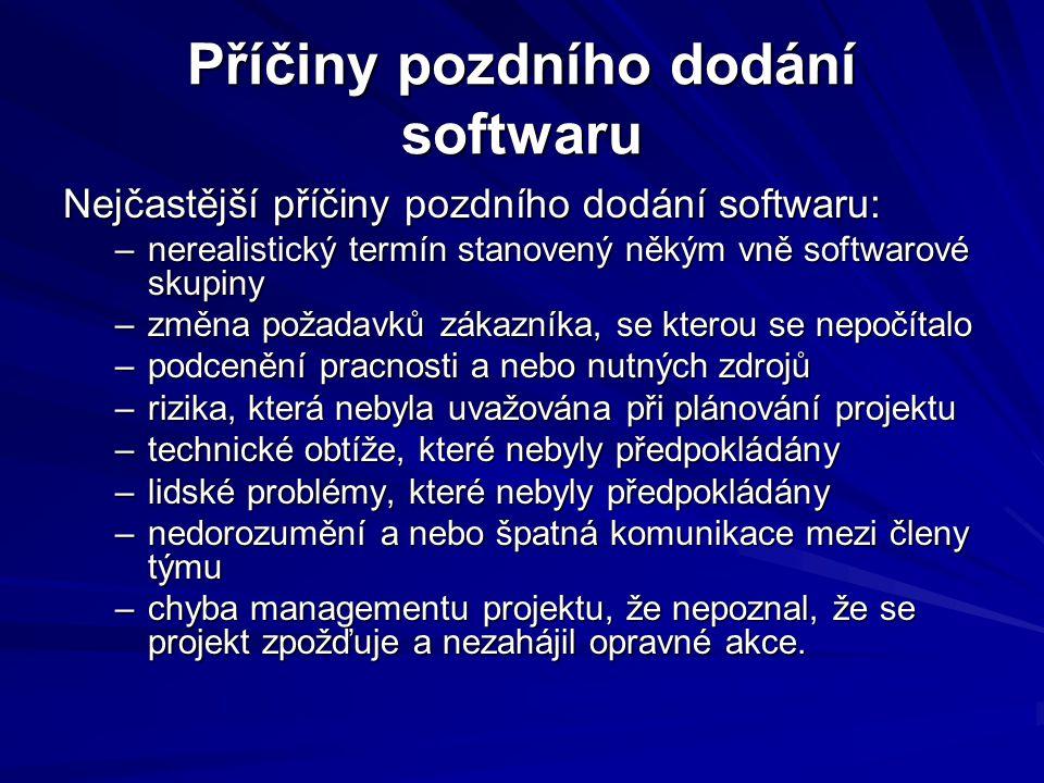 Příčiny pozdního dodání softwaru