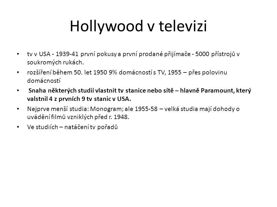 Hollywood v televizi tv v USA - 1939-41 první pokusy a první prodané přijímače - 5000 přístrojů v soukromých rukách.