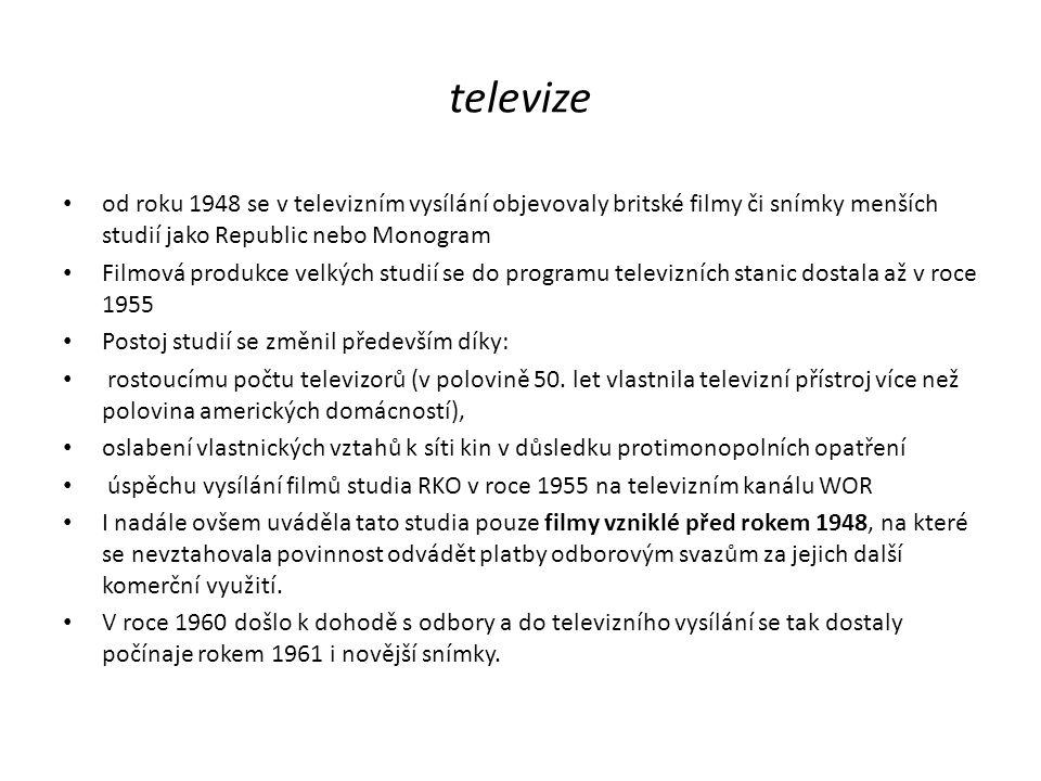 televize od roku 1948 se v televizním vysílání objevovaly britské filmy či snímky menších studií jako Republic nebo Monogram.