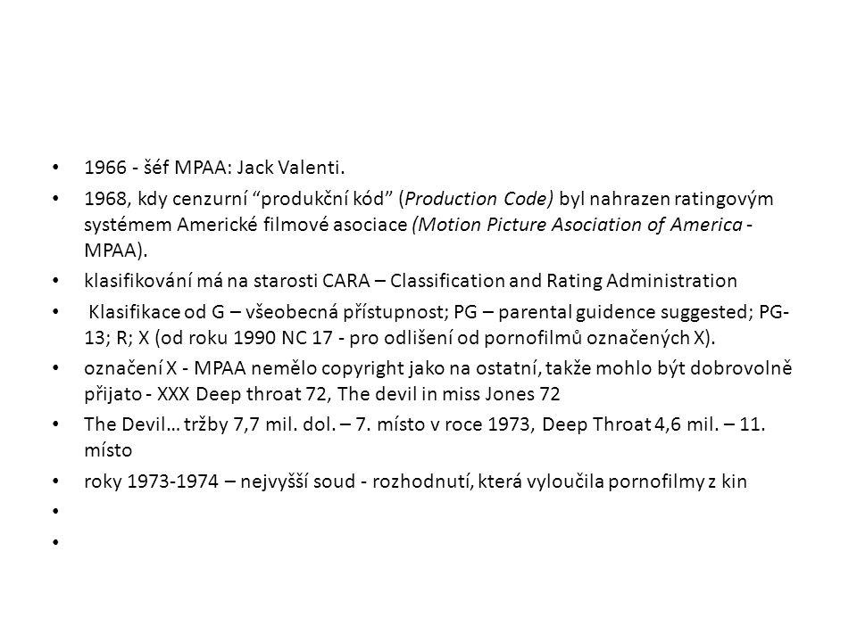 1966 - šéf MPAA: Jack Valenti.