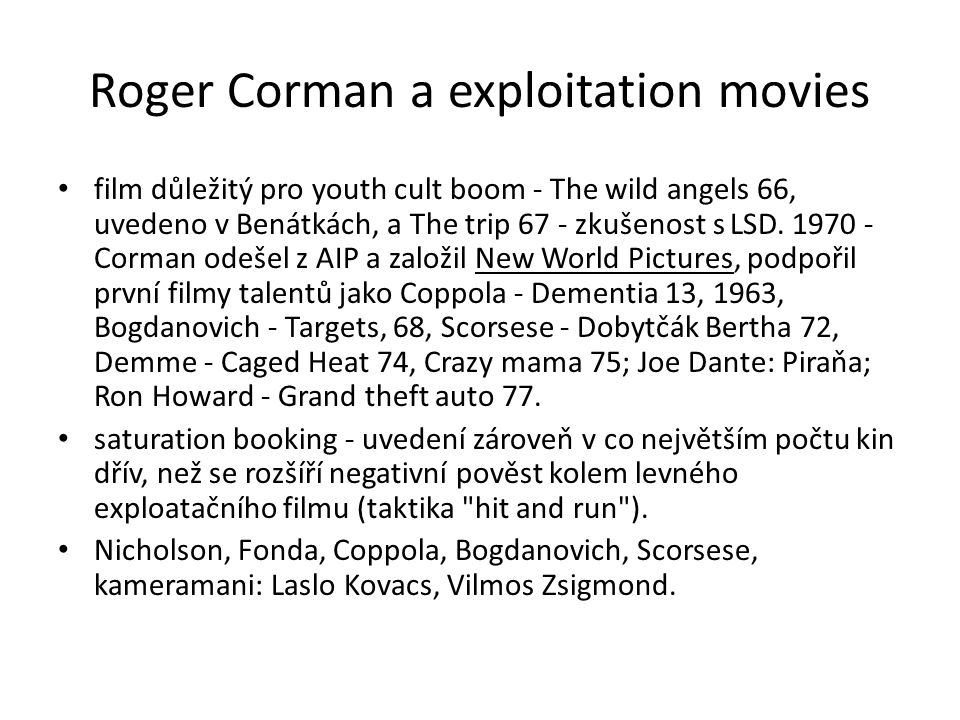 Roger Corman a exploitation movies