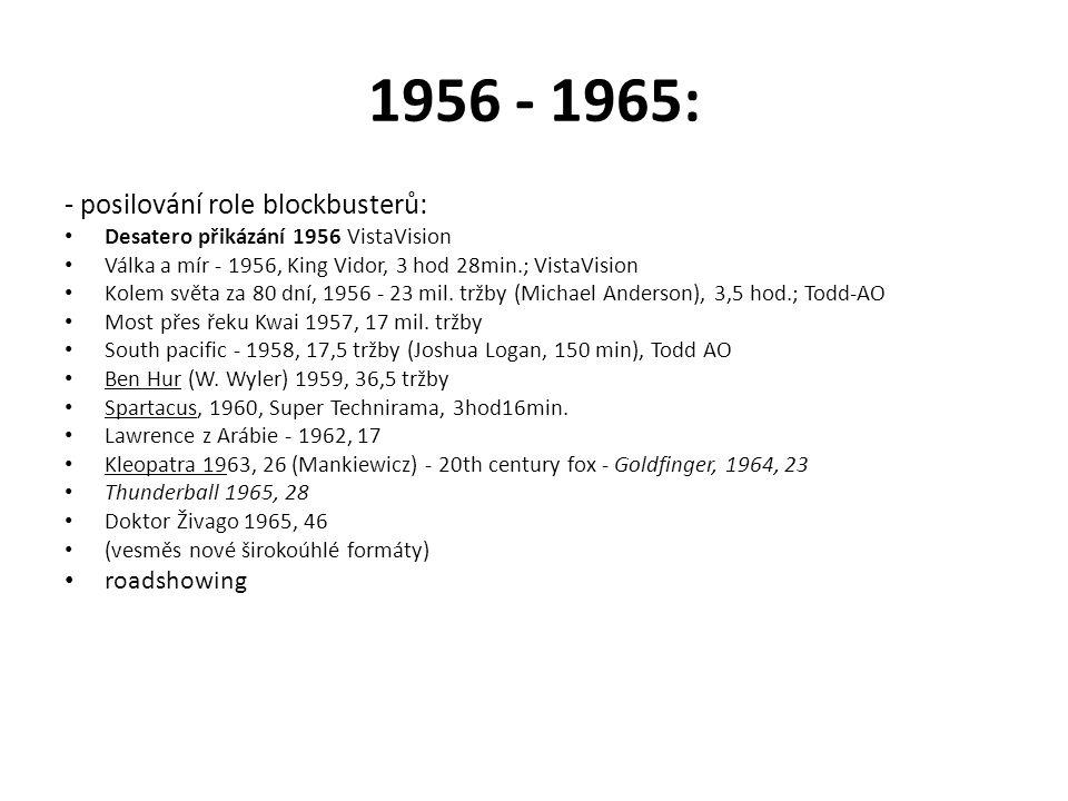 1956 - 1965: - posilování role blockbusterů: roadshowing