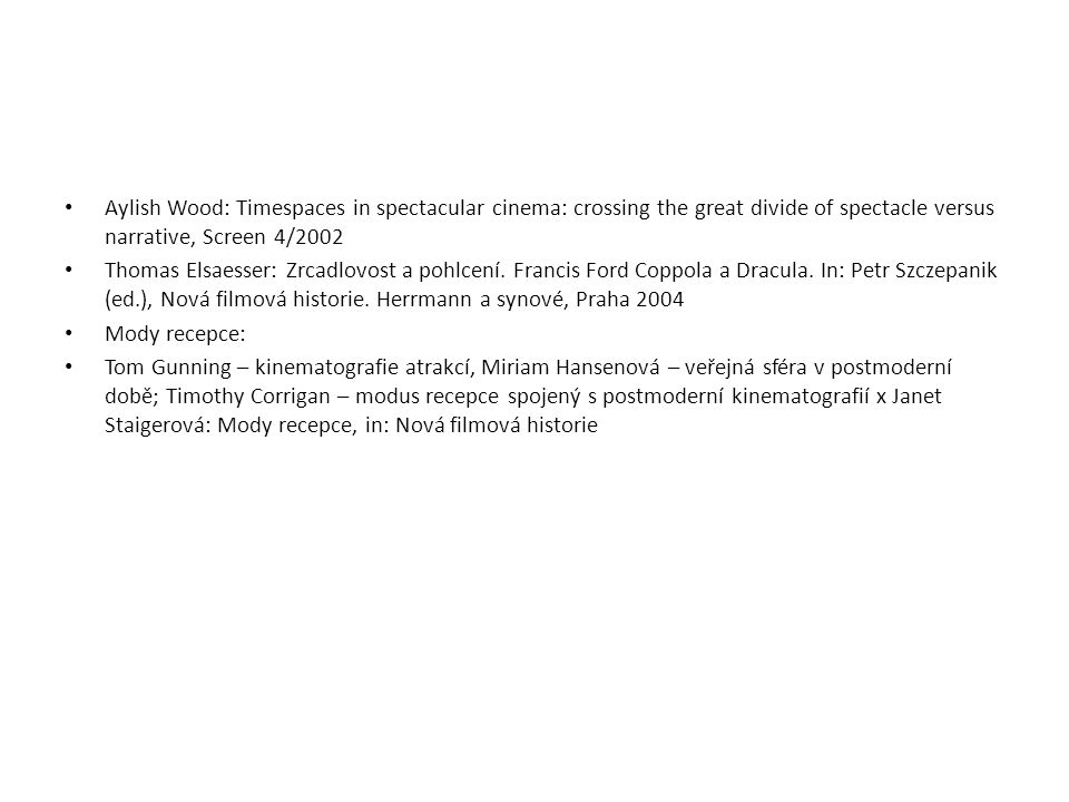 Aylish Wood: Timespaces in spectacular cinema: crossing the great divide of spectacle versus narrative, Screen 4/2002
