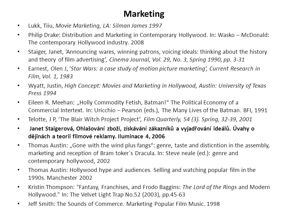 Marketing Lukk, Tiiu, Movie Marketing, LA: Silman James 1997