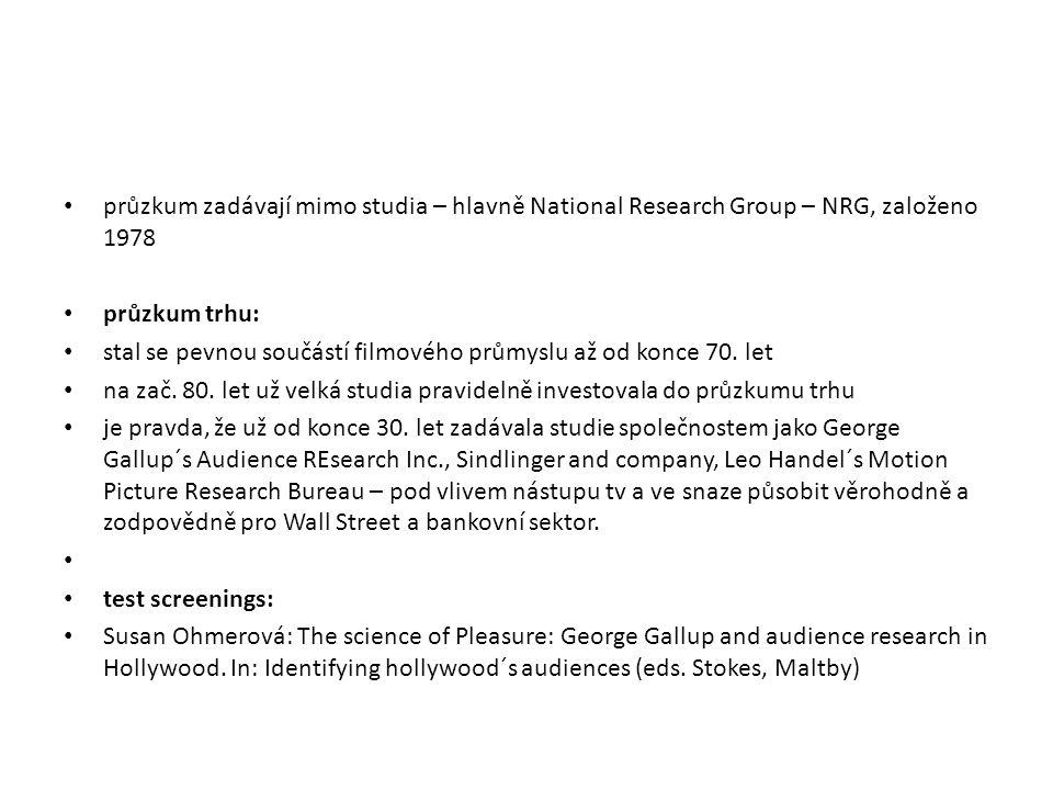 průzkum zadávají mimo studia – hlavně National Research Group – NRG, založeno 1978