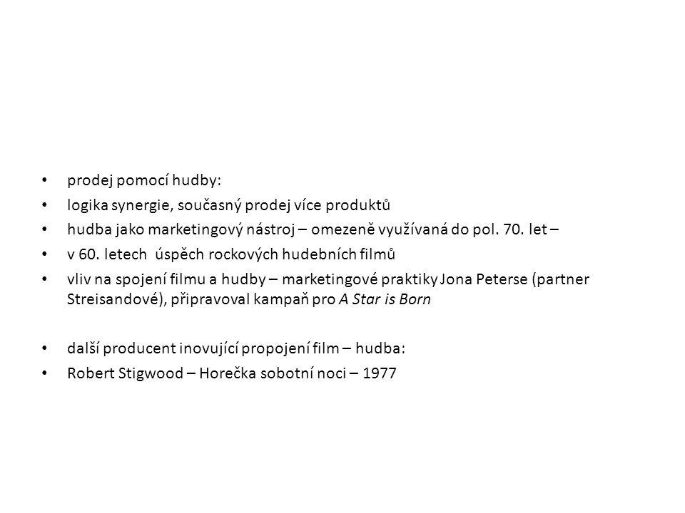 prodej pomocí hudby: logika synergie, současný prodej více produktů. hudba jako marketingový nástroj – omezeně využívaná do pol. 70. let –