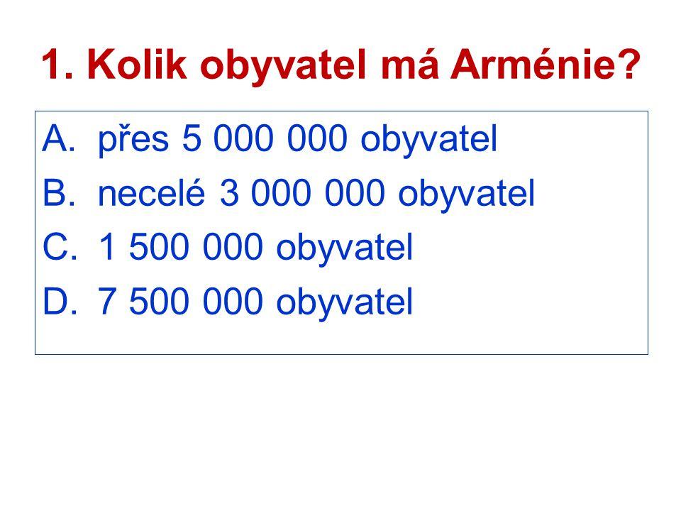 1. Kolik obyvatel má Arménie