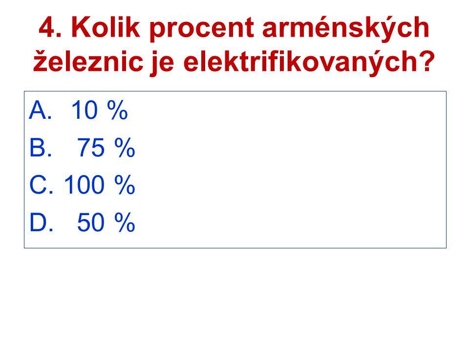 4. Kolik procent arménských železnic je elektrifikovaných