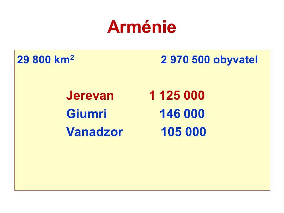 Arménie Jerevan 1 125 000 Giumri 146 000 Vanadzor 105 000