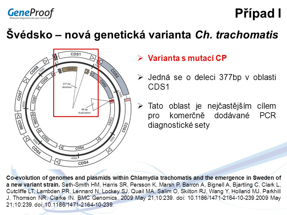 Případ I Švédsko – nová genetická varianta Ch. trachomatis