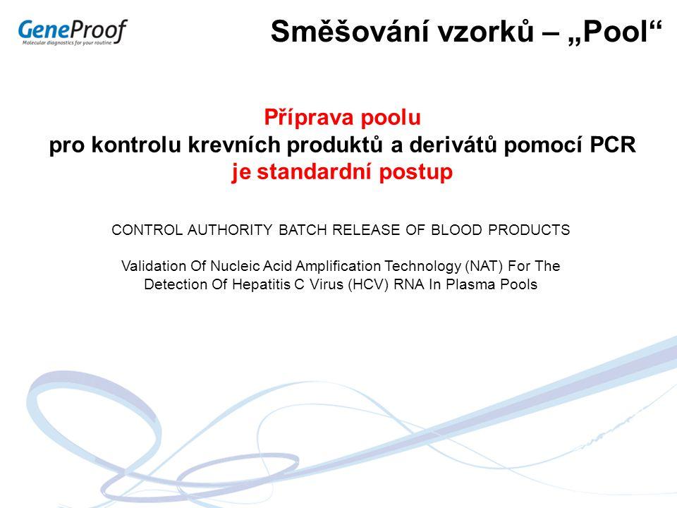 pro kontrolu krevních produktů a derivátů pomocí PCR