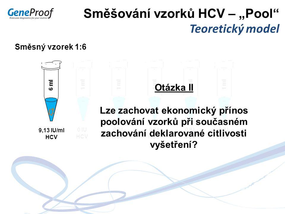 """Směšování vzorků HCV – """"Pool Teoretický model"""
