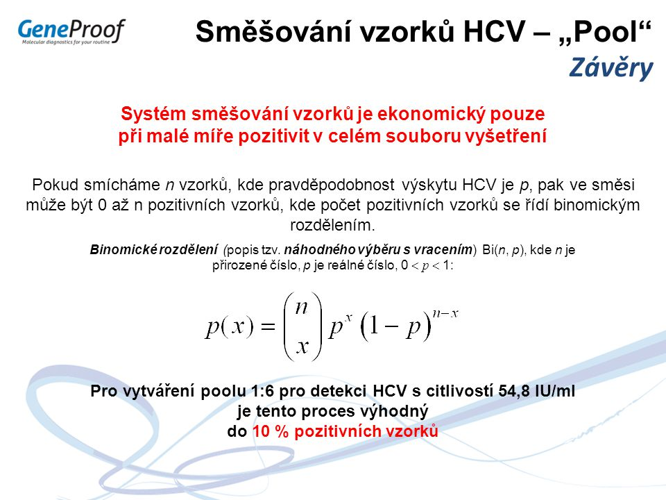 """Směšování vzorků HCV – """"Pool Závěry"""