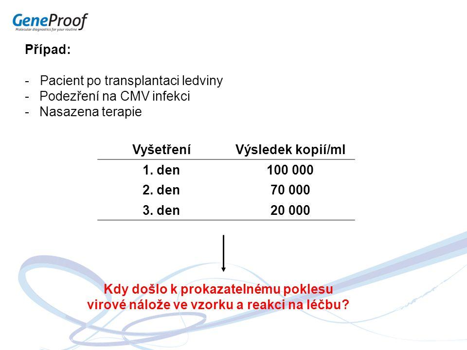 - Pacient po transplantaci ledviny Podezření na CMV infekci