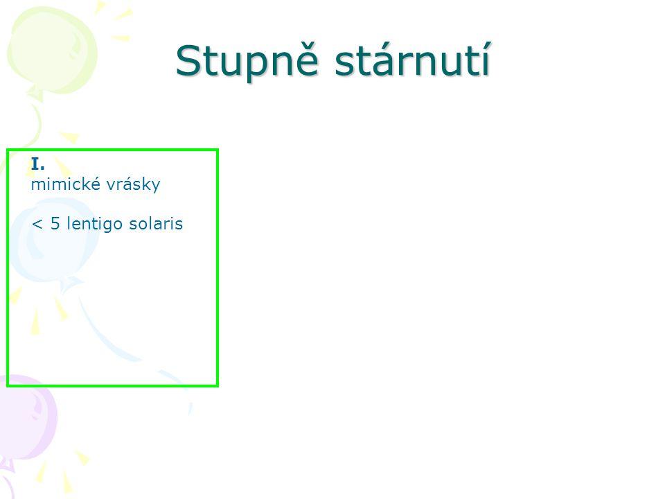 Stupně stárnutí I. mimické vrásky < 5 lentigo solaris