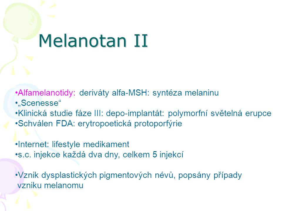 Melanotan II Alfamelanotidy: deriváty alfa-MSH: syntéza melaninu