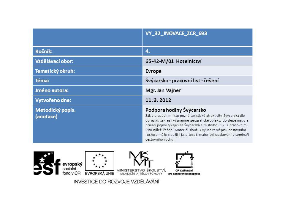 Švýcarsko - pracovní list - řešení Jméno autora: Mgr. Jan Vajner
