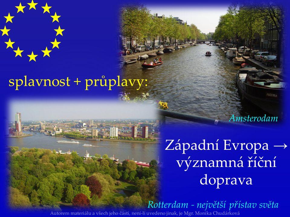Západní Evropa → významná říční doprava