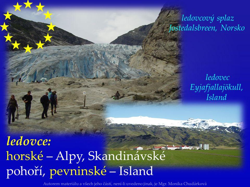 horské – Alpy, Skandinávské pohoří, pevninské – Island