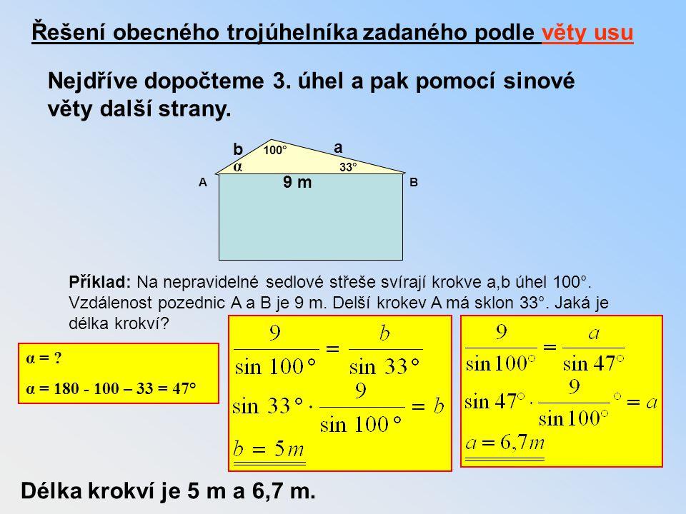 Řešení obecného trojúhelníka zadaného podle věty usu