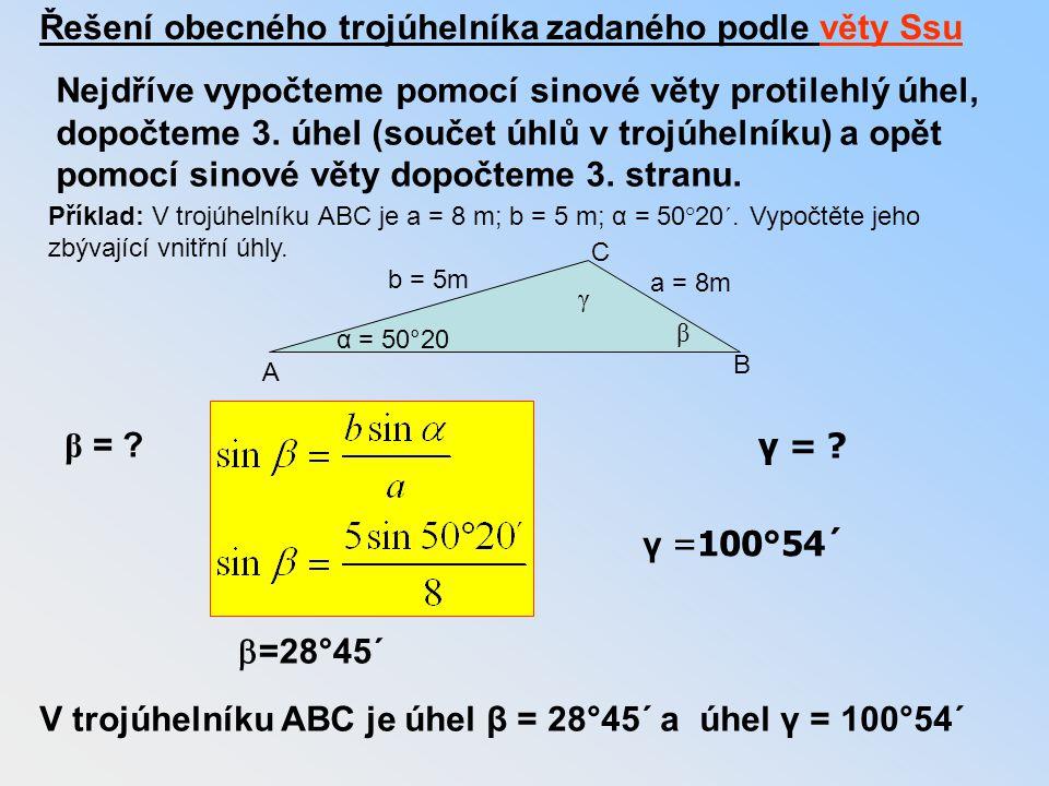 Řešení obecného trojúhelníka zadaného podle věty Ssu