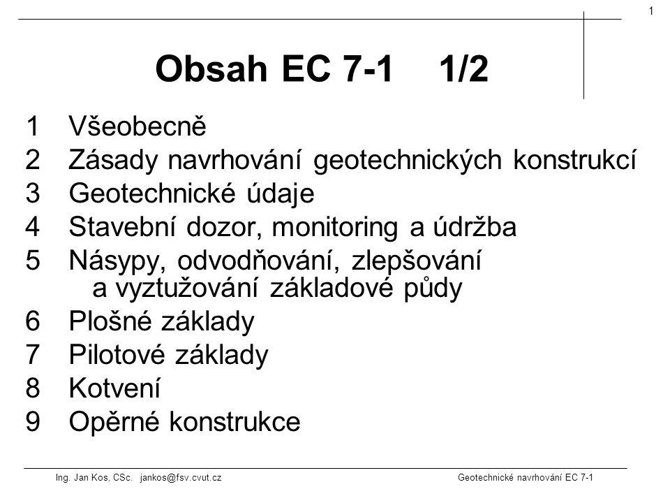 Ing. Jan Kos, CSc. jankos@fsv.cvut.cz Geotechnické navrhování EC 7-1