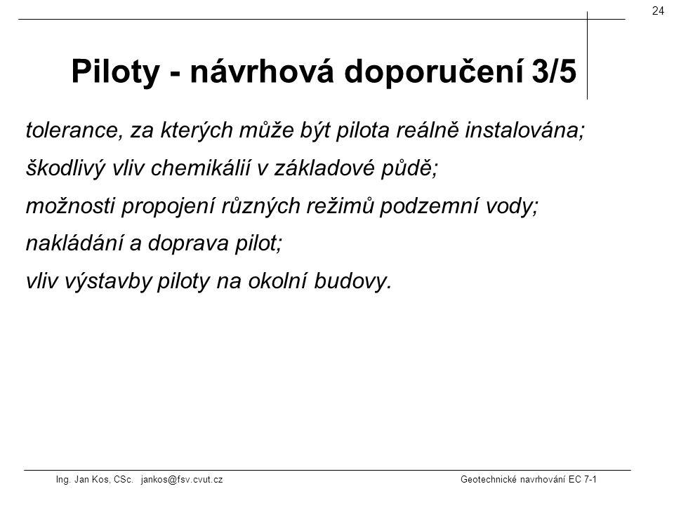 Piloty - návrhová doporučení 3/5