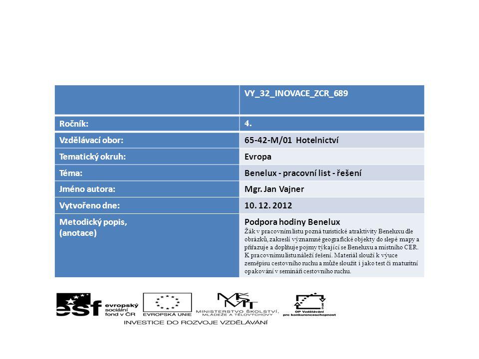 Benelux - pracovní list - řešení Jméno autora: Mgr. Jan Vajner