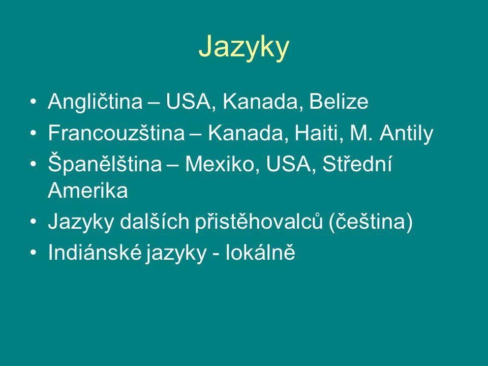 Jazyky Angličtina – USA, Kanada, Belize