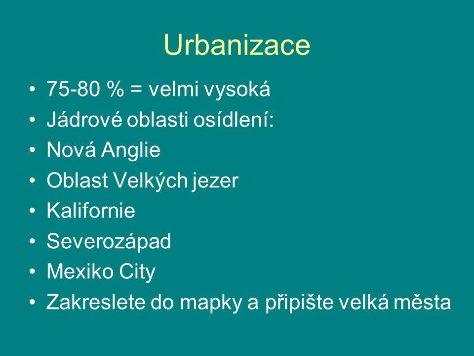 Urbanizace 75-80 % = velmi vysoká Jádrové oblasti osídlení: