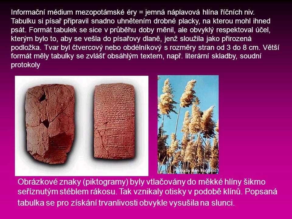 Informační médium mezopotámské éry = jemná náplavová hlína říčních niv