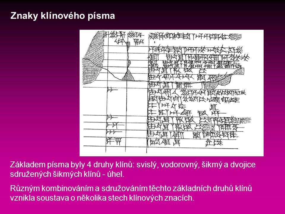 Znaky klínového písma Základem písma byly 4 druhy klínů: svislý, vodorovný, šikmý a dvojice sdružených šikmých klínů - úhel.