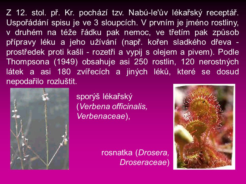 Z 12. stol. př. Kr. pochází tzv. Nabú-le ův lékařský receptář
