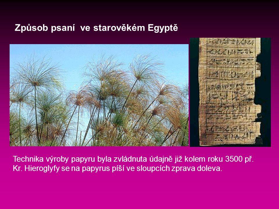 Způsob psaní ve starověkém Egyptě