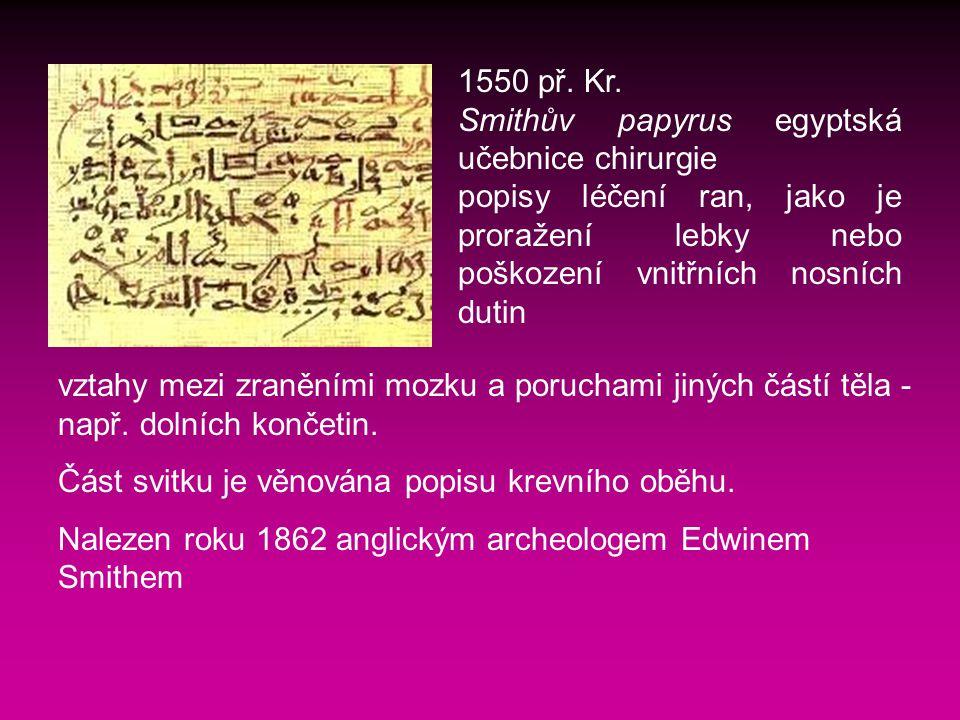 1550 př. Kr. Smithův papyrus egyptská učebnice chirurgie. popisy léčení ran, jako je proražení lebky nebo poškození vnitřních nosních dutin.