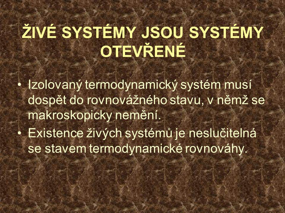ŽIVÉ SYSTÉMY JSOU SYSTÉMY OTEVŘENÉ