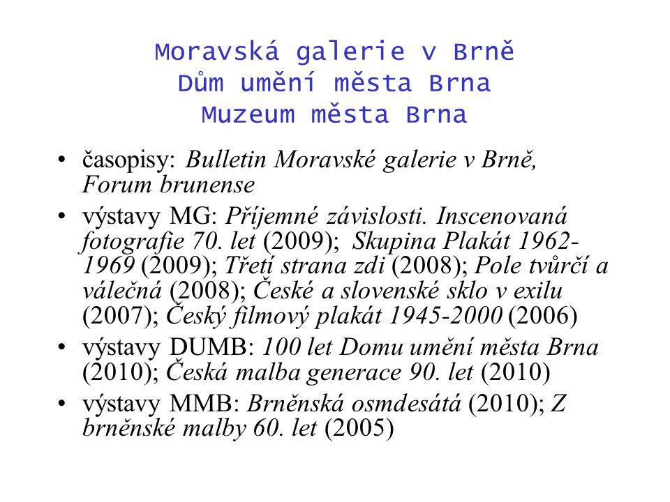 Moravská galerie v Brně Dům umění města Brna Muzeum města Brna