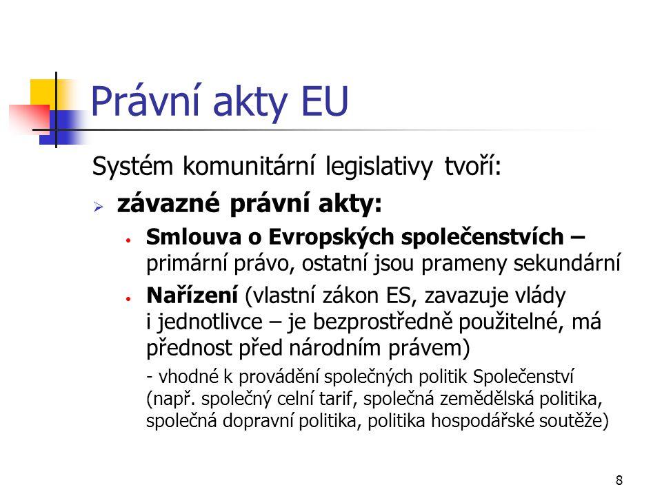 Právní akty EU Systém komunitární legislativy tvoří: