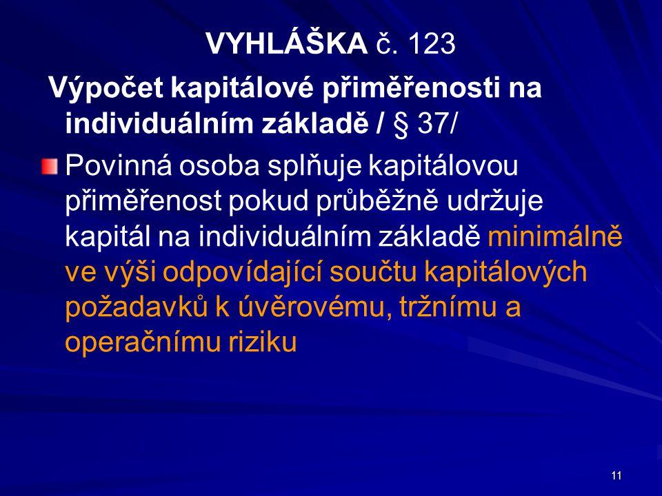 VYHLÁŠKA č. 123 Výpočet kapitálové přiměřenosti na individuálním základě / § 37/