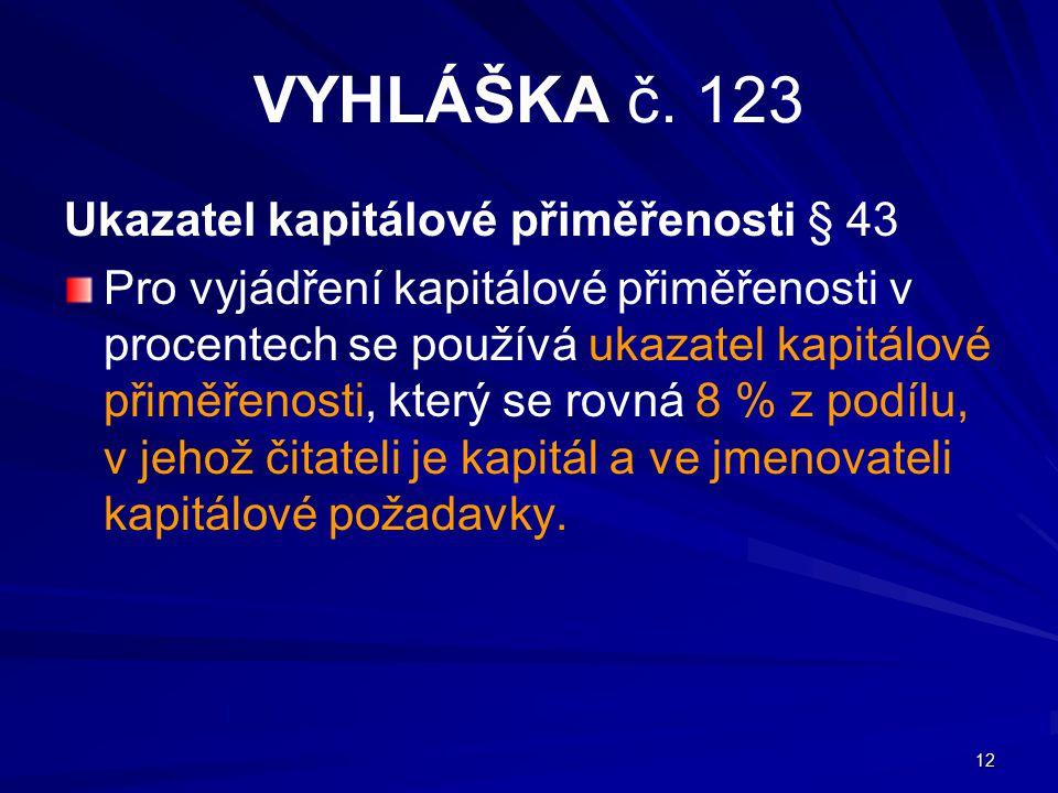 VYHLÁŠKA č. 123 Ukazatel kapitálové přiměřenosti § 43