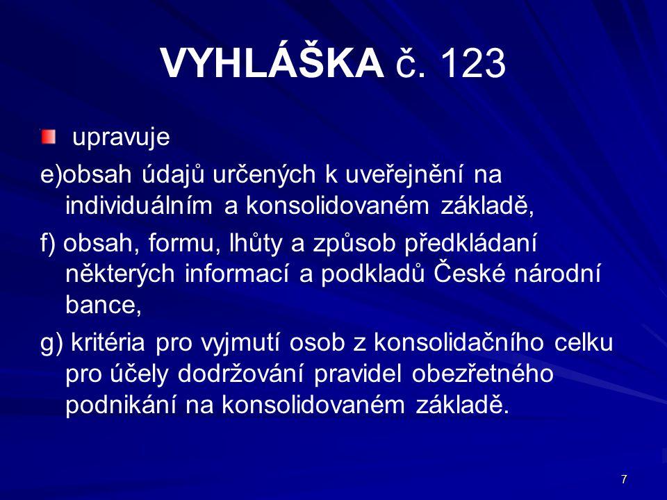 VYHLÁŠKA č. 123 upravuje. e)obsah údajů určených k uveřejnění na individuálním a konsolidovaném základě,