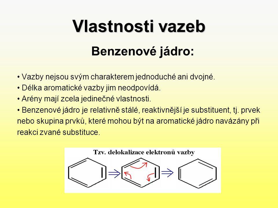 Vlastnosti vazeb Benzenové jádro: