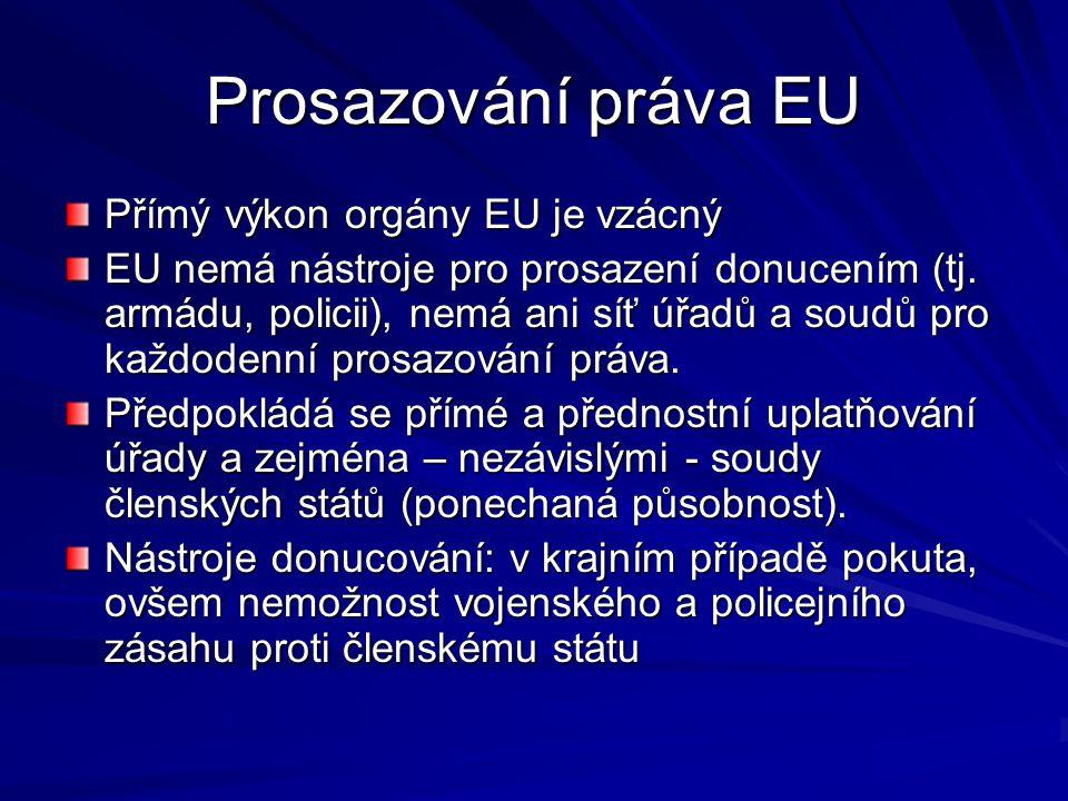Prosazování práva EU Přímý výkon orgány EU je vzácný