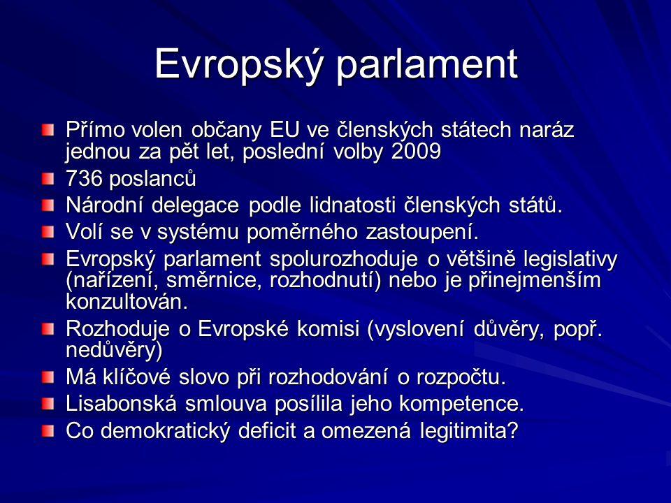 Evropský parlament Přímo volen občany EU ve členských státech naráz jednou za pět let, poslední volby 2009.
