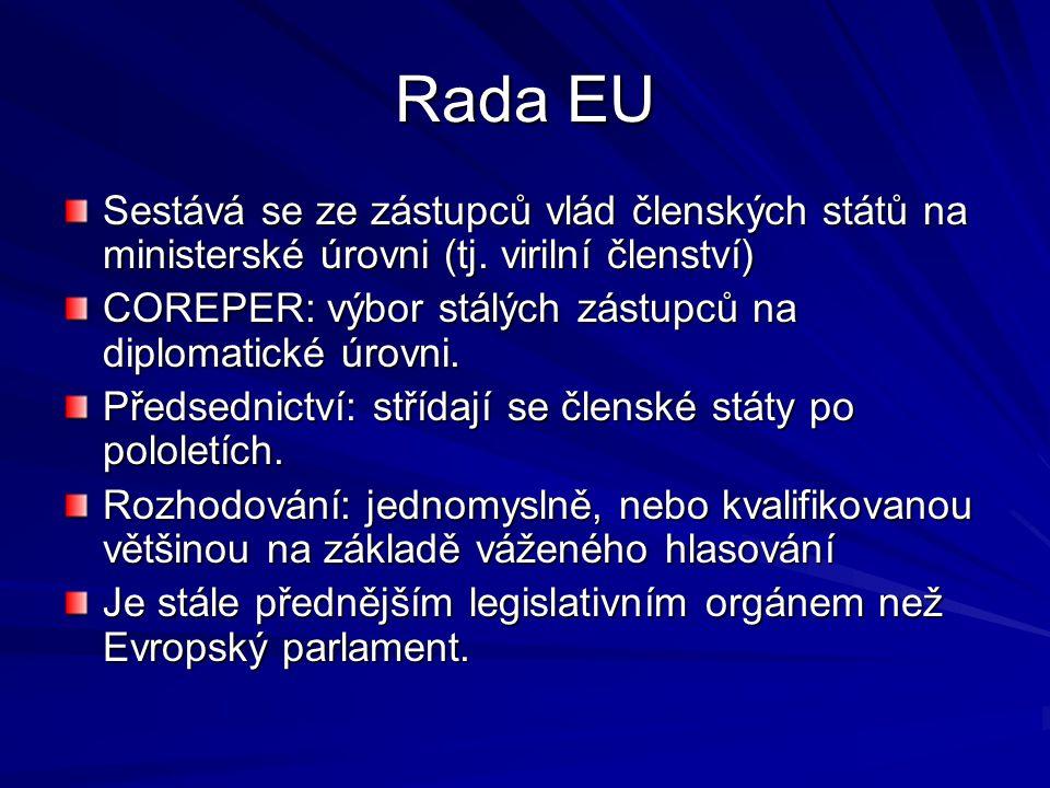 Rada EU Sestává se ze zástupců vlád členských států na ministerské úrovni (tj. virilní členství)