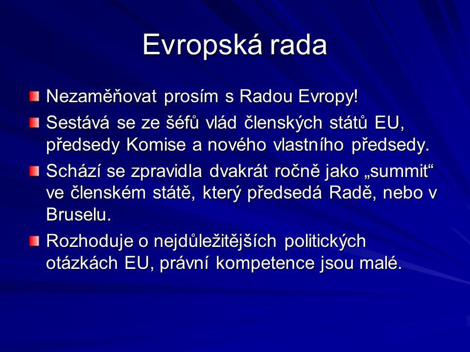 Evropská rada Nezaměňovat prosím s Radou Evropy!
