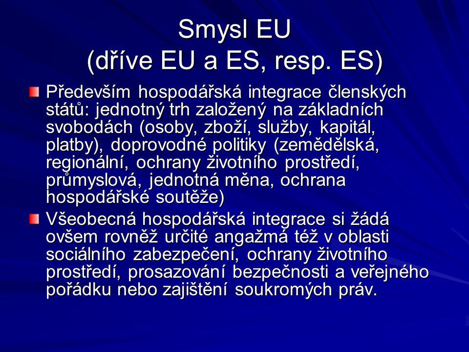 Smysl EU (dříve EU a ES, resp. ES)