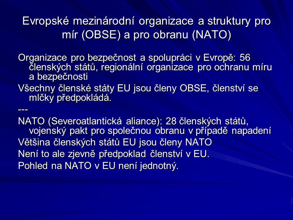 Evropské mezinárodní organizace a struktury pro mír (OBSE) a pro obranu (NATO)