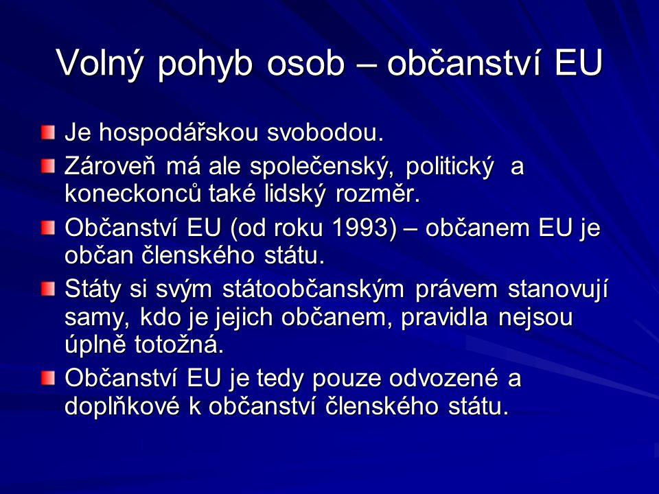 Volný pohyb osob – občanství EU